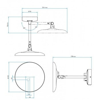Specification image for Astro Mascali Round LED Mirror Light