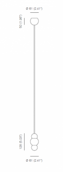 Specification image for Michael Anastassiades Ball Light Pendant Rod Small