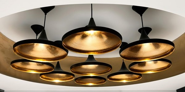 Tom Dixon Beats Wide in black and brass cluster